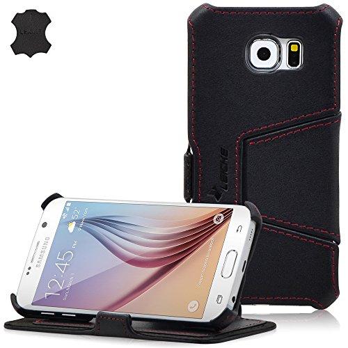 Manna UltraSlim Samsung Galaxy S6 Hülle, für SM-G920F   Case aus Echtleder, Nappaleder 'Astana' in schwarz   Aufstellbare Tasche mit EasyStand   Innenseite mit Microvlies gepolstert   Schutzhülle