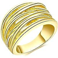 Daesar Gioielli Placcato Oro Anelli Donna Anello di fidanzamento Lucido Carved Striscias Rotondo Anelli