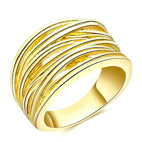 Daesar Schmuck Damenring Vergoldet Verlobungsring Carved Streifens Runde Gold Ring Größe:57 (18.1)