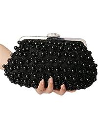 Nodykka Wedding Evening Rhinestone Bead Lace Party Clutch Bag Cross Body Handbag Purse (Black)