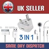 Apple Netzteil, USB-Datenkabel und Kopfhörer, für Apple iPhone 4 / 4S / 3GS / iPad / iPod