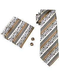 Lorenzo Cana 84326 Marken Krawatte mit Einstecktuch Set aus 100/% Seide Braun Beige Schwarz Streifen Barock