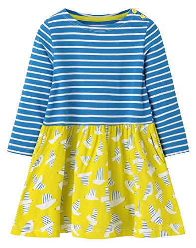 Kaily Mädchen Baumwolle Langarm Gestreift T-shirt Kleider Mit Tasche(Navy,2T/2-3Jahre) (2 Shirt 2t)