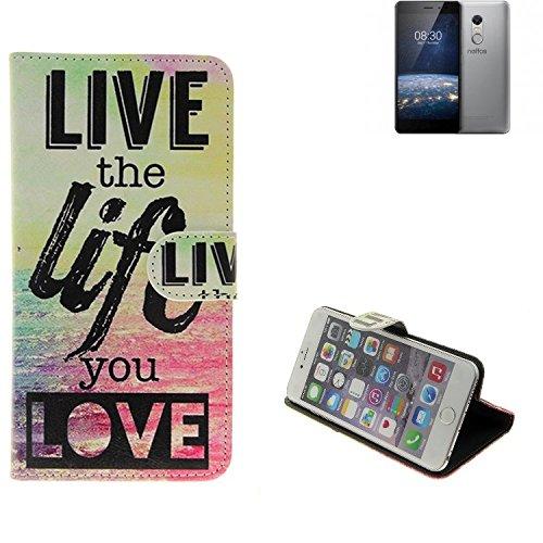 K-S-Trade® Für -TP-LINK Neffos X1 Lite- 360° Wallet Case Schutz Hülle \'\'live The Life You Love\'\' Schutzhülle Handy Hülle Handyhülle Handy Tasche Etui Smartphone Flip Cover Flipstyle