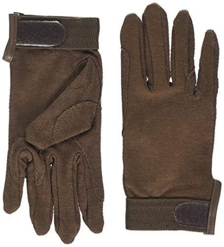 cotton pimple gloves velcro wrist - brown - extra large