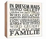 Holzschild Familien Regeln Holzbild zum hinstellen