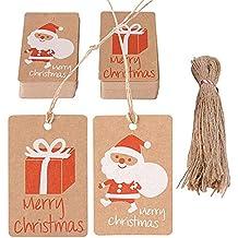 100pcs Etiquetas Navidad Regalos de Papá Noel + Regalo Papel Kraft para Decoración de Navidad Año