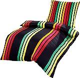 P.K. Textilien Luxus Mako Satin Bettwäsche Lambada Stripes Rot Grün Gelb Schwarz, Größe:240x220cm Bettwäsche