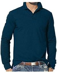 Camiseta tipo polo Rockberry para hombre, de manga larga, color liso, tallas S