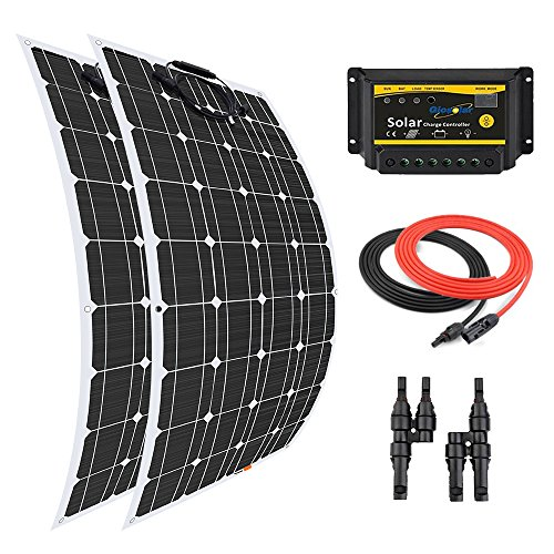 Giosolar Solar Panel 200W Flexible Solar Panel Kit 2x 100W Flexible Monokristallines Panel + 20A LED Controller + 5m Solar-Kabel + Y Ast Connector für Boot Caravan netzferne