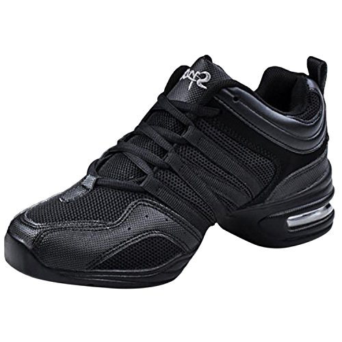 Oasap Women's Mesh Soft Sole Lace-up Dance Sneakers, Black EURO39/US8/UK6