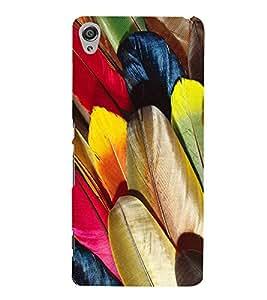 FIOBS coloured feathers birds realistic golden unique creative Designer Back Case Cover for Sony Xperia XA :: Sony Xperia XA Dual