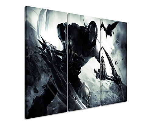 Leinwandbild 3 teilig Darksiders_Crow_3x90x40cm (Gesamt 120x90cm) _Ausführung schöner Kunstdruck auf echter Leinwand als Wandbild auf Keilrahmen