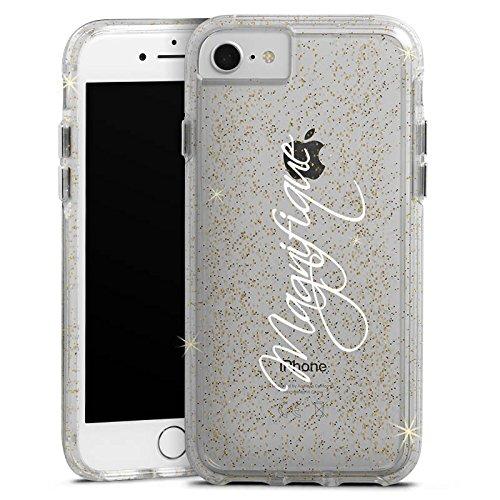 Apple iPhone 6 Plus Bumper Hülle Bumper Case Glitzer Hülle Magnifique Schrift ohne Hintergrund Bumper Case Glitzer gold