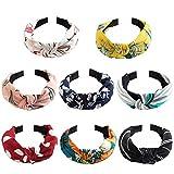 Skaine 8Pcs de Pelo Anchas Diadema de Nudo Bandas de Pelo Para la Cabeza Turbantes para Mujer Diadema Para Mujer Chica Niña Accesorio de Pelo 8 Colores Variados (Multicolor)