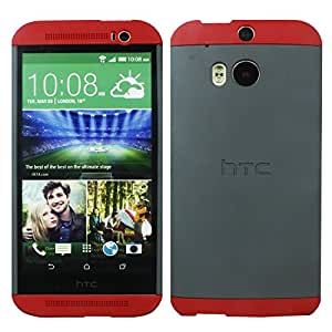 Heartly Double Dip Hard Shell Premium Back Case Cover For HTC One M7 Single Sim - Red White Red
