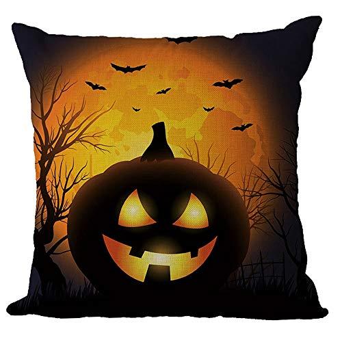 U.Expectating Halloween Kürbis Kissenbezug Leinen Zierkissenbezüge Mix Sofa Vintage deko Halloween Hexe Kissenbezug Quadrat Kopf Shabby Chic Vintage deko (E)