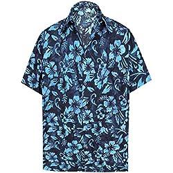 LA LEELA botón de la Camisa Hawaiana de los Hombres Mangas Cortas Vacaciones de Vacaciones Floral Hawaiana M-Pecho Contorno (in cms):101-111 Azul Marino_AA162