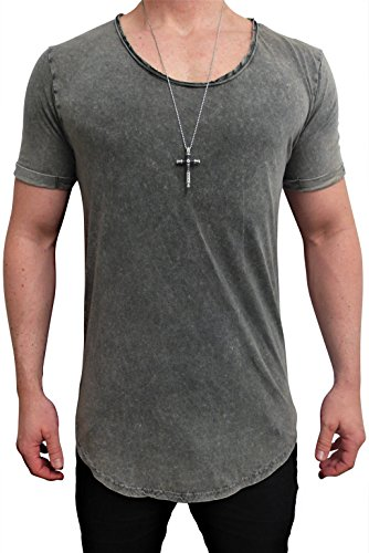 Herren Oversize Designer T-Shirt Tee Longshirt basic slim-fit kurzarm lange Oversized männer ausschnitt long men mens fit sweatshirt shirts neck v rundhals grau sportive langarm hemd mode baumwolle (M, Denim Jeans Color)