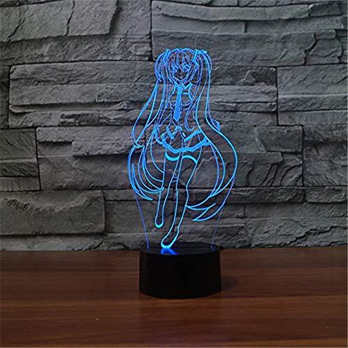 WJPDELP-YEDE 3D Anime Charaktere Tischlampe Hübsches Mädchen LED Nachtlicht USB 7 Farben Atmosphäre Wahltaste Erleuchten Kinder (Mädchen Charaktere Pokemon)
