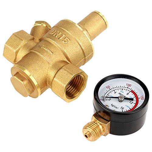 Regolatore di pressione regolabile DN15, acqua in ottone con indicatore di misurazione per ingresso rubinetto pressione acqua Max1.6Mpa