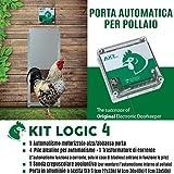 Porta Automatica crepuscolare per pollaio Kit Logic 3 (Alluminio, Porta Misura S cm 22x33h)