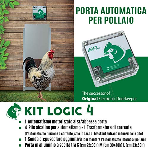 Porta Automatica crepuscolare per pollaio Kit Logic 4 (Alluminio, Porta Misura M cm 30x40h)