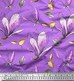 Soimoi Lila strahlkrepp Stoff Blätter & Magnolie Blumen-