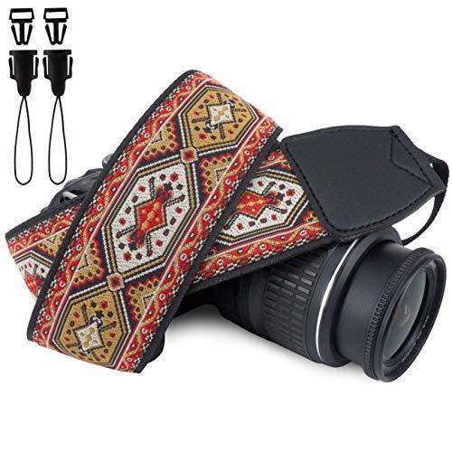 Hasselblad Polaroid (Wolven Vintage Jacquard Webart Kamera Nackengurt Schultergurt kompatibel für alle DSLR/SLR/Digitalkameras (DC) / Instant Camera/Polaroid etc. Red Pattern)