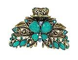 Fermaglio per capelli da donna vintage dorato Chunky, 8 cm in metallo con farfalla, in 5 colori Turquoise 10 cm