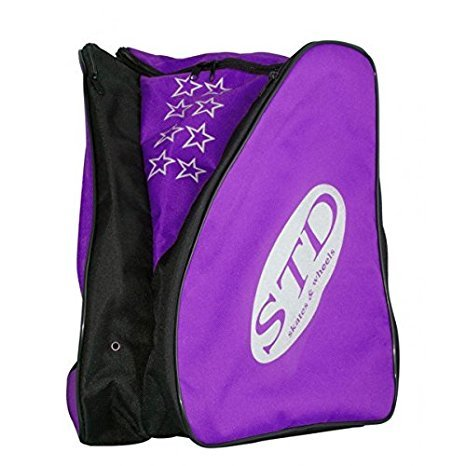 STD SKATES Mochila para patines Nylon con bolsillos laterales para los patines y espacio central para la ropa y protecciones. (violeta)