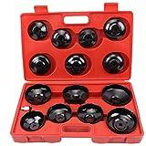 CCLIFE 15 pezzi universale filtro olio Chiavi per filtro olio a tazza bussola set in valigetta