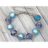 Bracciale Charms donna Thurcolas modello Manhattan acciaio inossidabile con perline di vetro blu