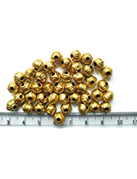 Matte Gold Finish Spacer Bead Balls For Jewellery Making, Craft Works, Pack Of 250 Nos