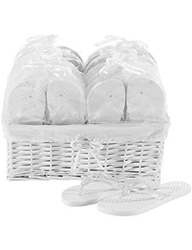 Zohula Weiß Hochzeit Flip Flops Zehentrenner Premium-Partypaket - 20 Paare Ungleich gr Flip-Flops Inklusive Weidenkorb...
