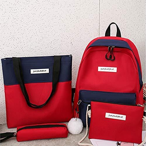 Hniunew Paket 4Pcs Damen Kosmetiktasche Set Canvas UmhäNgetasche Retro Backpack Rucksack Kupplung Handtasche Einkaufstasche FedermäPpchen Daypacks Leinentasche Schultertasche Frauen Tragetasche