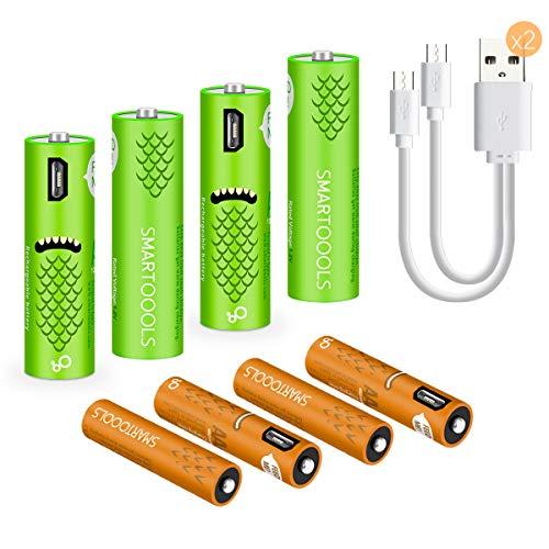 Elzle 4-Pack AA-Batterie Rechargeable Und wiederaufladbare AAA-Akkus mit 1,2 V NI-Mh-Kapazität mit 2 USB-Kabeln Aa 4 Pack