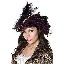 Sombrero de pirata, morado con plumas y lazo.