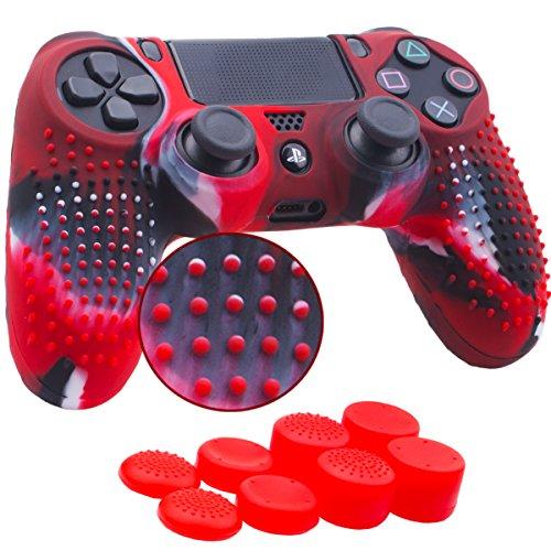 YoRHa Studded Housse en Silicone Coque Custom pour Sony PS4/Slim/Pro Manette x 1 (camouflage rouge) Avec FPS PRO thumb grip poignée pouce Pro x 8