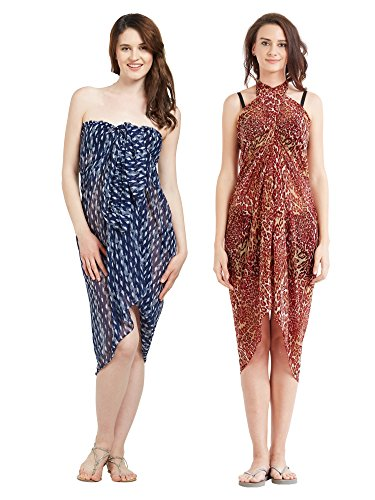 Womens Faux Georgette Beach Wear Wrap Kombination von 2 Sarong Animal Print & Abstract Gedruckt Pareo Badeanzug Vertuschen (S135_Rot & Navyblue) Animal Print Faux Wrap