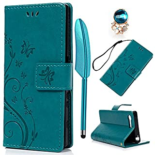 YOKIRIN Sony Xperia X Compact Lederhülle Hülle Case für Sony Xperia XCompact Flipcase Tasche Handyhülle Etui Schmetterling PU Leder Schutzhülle Schale Kartenfächer Magnetverschluss Cover Blau