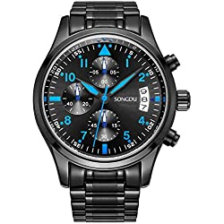 SONGDU Men Chronograph Multi Function Quartz Watch with Black Stainless Steel Bracelet,Black Dial and Blue Hand 9092A-P57EL