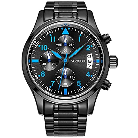 SONGDU Men Chronograph Multi Function Quartz Watch with Black Stainless Steel Bracelet,Black Dial and Blue (Doppio Tempo Cronografo)