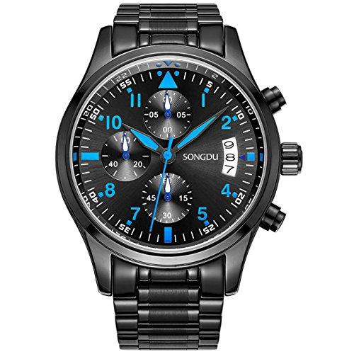 SONGDU Herrenarmbanduhr Chronograph Analog Quarz Uhr Blaue Schwarz Armbanduhr