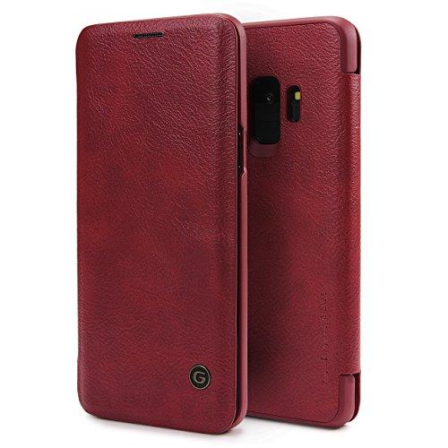 Urcover Galaxy S9 Hülle, Wallet Business Series mit [ KARTENFACH ] Bookstyle Case Cover Schutzhülle Etui Klapphülle Handyhülle für Samsung Galaxy S9 Rot (Card Wallet Klasse)