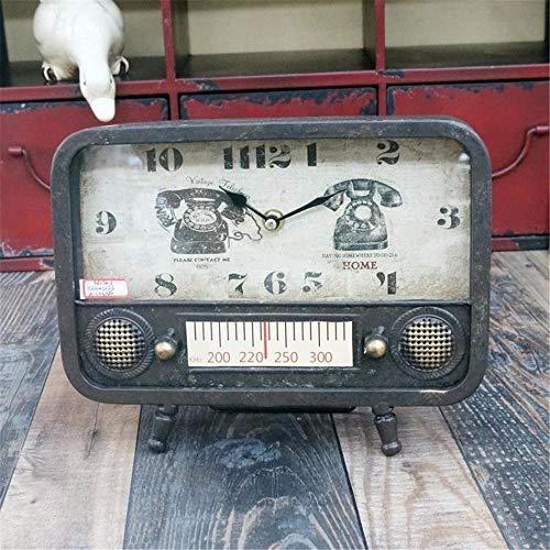 ZXL American Retro zu tun die Alten Eisen Multi-Color-Mittelgroße Radio Tischuhr Uhr, schwarz