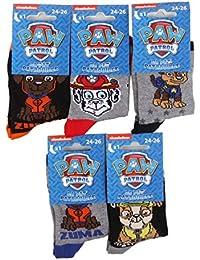 Pat Patrouille–Juego de cinco pares de calcetines para niño–modelos aleatorios