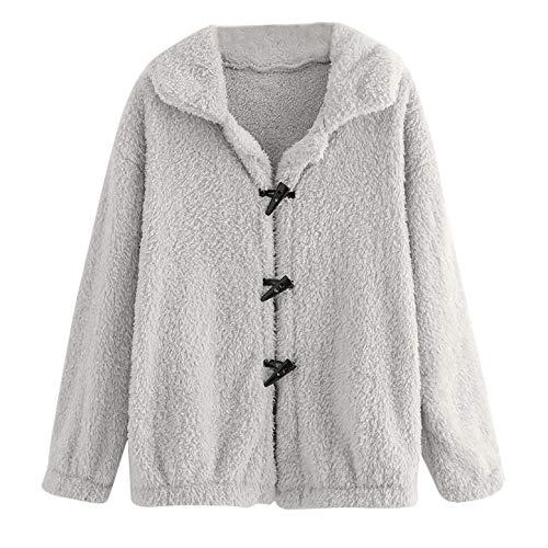 (Plüschmantel Damen lose Sweatshirt mit Kapuze Mantel MYMYG Langärmelige Einfarbige Strickjacke Jacke mit Taschen Warmen Winter(Grau,EU:38/CN-L))