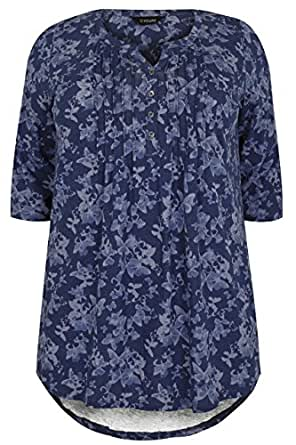 Womens Butterfly Print Pintuck Jersey Top With 3 4 Sleeves