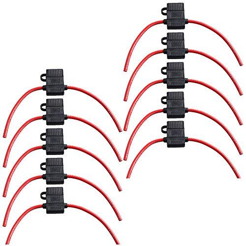 E Support™ 10Pcs Sicherungshalter f¨¹r KFZ-Sicherungen ATC Im Einklang mit voll vergossenem Geh?use Kupfer Draht 10 Ga AWG